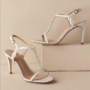 bce4a902436cff ANTHROPOLOGIE Billy Ella Braided Gilt T-strap heel